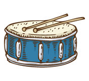 Blauwe trommel met trommelstokken stock illustratie