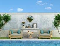Blauwe tuin met pool Stock Afbeelding