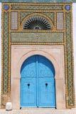 Blauwe Tunesische deuren Royalty-vrije Stock Afbeelding