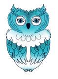 Blauwe uil royalty-vrije illustratie