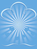 Blauwe uitbarstingsachtergrond met hartballons cmyk Royalty-vrije Stock Afbeeldingen