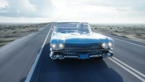 Blauwe uitstekende, retro auto op weg, weg Daglicht Zeer snel drijvend Realistische 4K animatie vector illustratie