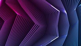 Blauwe ultraviolette neon gebogen lijnen videoanimatie stock videobeelden
