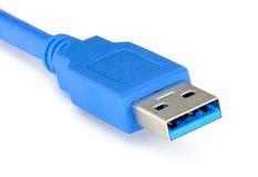 Blauwe usb 3 kabel 0 op witte achtergrond wordt geïsoleerd die Stock Afbeeldingen