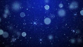 Blauwe van bokehlichten en sterren abstracte achtergrond Stock Foto