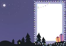 Blauwe vector feestelijke Kerstkaart met kleurrijke ballenlantaarns, sneeuwvlokken, twee bomen en decoratie van het giftenkader m vector illustratie