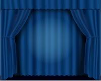 Blauwe vectorillustratie theatrale gordijnen Stock Fotografie