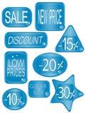 Blauwe vectormarkeringsstickers Stock Foto