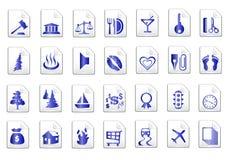 Blauwe vectorpictogrammen Royalty-vrije Stock Foto's