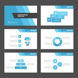 Blauwe veelhoek 2 de elementen van Infographic van het presentatiemalplaatje en pictogram vlak ontwerp Royalty-vrije Stock Foto