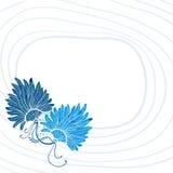 Blauwe veerventilator met lijnen op rug Stock Foto's