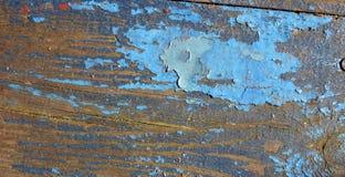 Blauwe verf op hout Stock Afbeelding