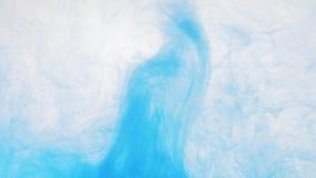 Blauwe Verf in water abstracte achtergrond Dicht schot Daling van blauwe inkt het oplossen in een water, abstract patroon stock videobeelden