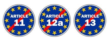 Blauwe verkeersteken om Artikel 11, 12a en 13 te verhinderen royalty-vrije illustratie