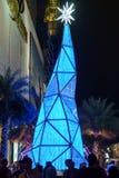 Blauwe Verlichtingskerstboom Royalty-vrije Stock Foto