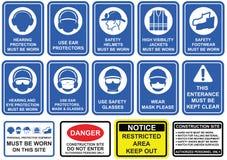 Blauwe verplichte reeks tekens van het veiligheidsmateriaal in wit pictogram stock illustratie