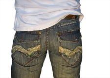 Blauwe versleten jeans Royalty-vrije Stock Fotografie