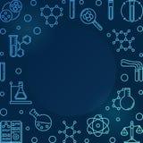 Blauwe vierkante Chemieillustratie - vector Chemisch kader stock illustratie