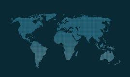 Blauwe vierkante gestippelde wereldkaart Stock Afbeelding