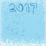 Blauwe vierkante grungeachtergrond Nieuwe jaaruitnodiging Sneeuwvlokken, 2017 Royalty-vrije Stock Afbeeldingen
