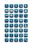 Blauwe vierkante Webpictogrammen Stock Fotografie