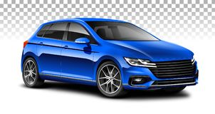 Blauwe vijfdeursauto generische auto Stadsauto met glanzende oppervlakte op witte achtergrond royalty-vrije illustratie
