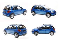 Blauwe vijfdeursauto's Stock Afbeelding
