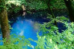 Blauwe vijver in Juniko, Japan royalty-vrije stock foto