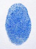 Blauwe vingerafdruk Stock Foto's