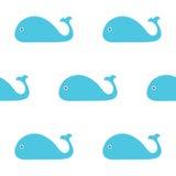 Blauwe vinvisillustratie Naadloos patroon Eenvoudige kinderenstijl Vector illustratie EPS10 Stock Fotografie