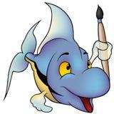 Blauwe Vissen als Schilder Stock Afbeelding