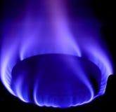 Blauwe vlam van gas Stock Foto