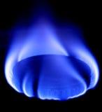 Blauwe vlam van gas Stock Fotografie