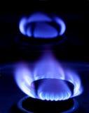 Blauwe vlam van gas Royalty-vrije Stock Foto's