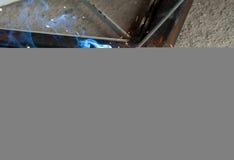 Blauwe vlam van lassen Stock Foto's