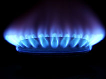 Blauwe vlammen van gas Royalty-vrije Stock Fotografie