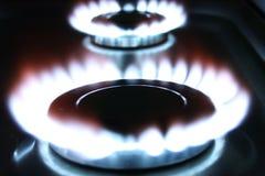Blauwe vlammen van gas Royalty-vrije Stock Foto's