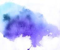 Blauwe vlek, waterverfachtergrond Stock Foto