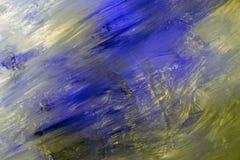 Blauwe vlekken op het document deegachtige slagen van acrylverf royalty-vrije stock afbeelding