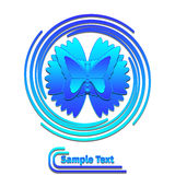 Blauwe vlinder in wervelingsembleem royalty-vrije illustratie