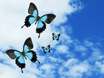 Blauwe Vlinders in Hemel royalty-vrije stock afbeelding