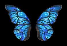 Blauwe vlindervleugels op zwarte achtergrond vector illustratie