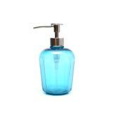 Blauwe vloeibare zeep in plastic pompfles Stock Afbeeldingen
