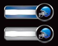 Blauwe voetbalhelm op banners Royalty-vrije Stock Afbeeldingen