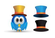 Blauwe vogel die een hoed dragen Royalty-vrije Stock Foto