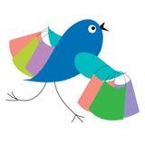 Blauwe vogel het winkelen looppas van verkoop Royalty-vrije Stock Afbeelding