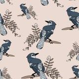 Blauwe vogel op een takje royalty-vrije illustratie