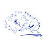 Blauwe vogel in zeven haasten Royalty-vrije Stock Afbeelding