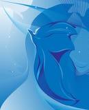 Blauwe vogelabstractie Royalty-vrije Stock Foto's