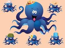 Blauwe vrolijke beeldverhaaloctopus, met diverse toebehoren (hoed). Stock Fotografie